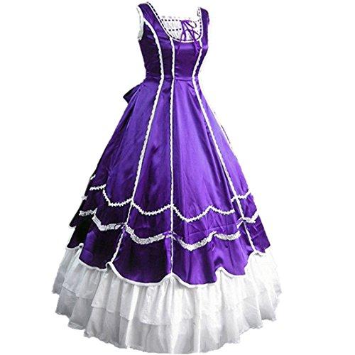 Partiss Womens Ruffles Gothic Prom Masquerade Wedding Dress,XXL,Purple (Purple Masquerade Dresses)