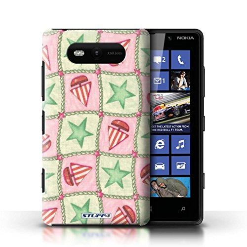 Etui / Coque pour Nokia Lumia 820 / Vert/Rouge conception / Collection de Bateaux étoiles