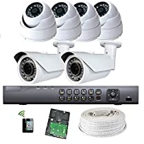 Amview 8ch 1080P HD Hybrid HDTVI HDMI Dual-stream video Compression DVR HD 1.3MP 1000TVL CCTV 6pcs In/Outdoor Security Camera System