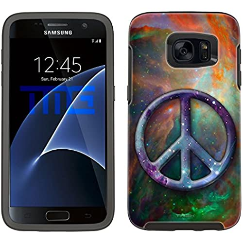 Skin Decal for Otterbox Symmetry Samsung Galaxy S7 Edge Case - Peace on Nebula Green Orange Sales