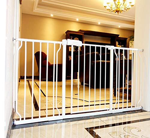 ALLAIBB Walk Through Baby Gate  Auto Close Tension White Metal  Child Pet Safety Gates with Pressure Mount for Stairs,Doorways and Baniste 57.5-62.2 in