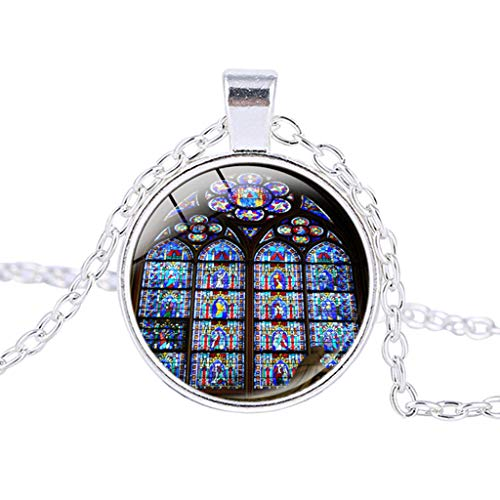 Rose Window Stained Glass de Paris Cathedral Pendant Necklace Fashion,Outsta 2019 Fashion Jewelry Hot Sale!Under 5 Dollars Gifts for Her