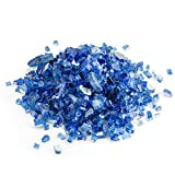 Reflective Fire Glass for Fire Pit and Fireplace, 10 Pound, 1/4-inch, Blue