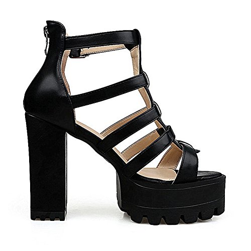 AgooLar Women's Zipper Open Toe High-Heels PU Solid Sandals Black mt4GS3m3yi