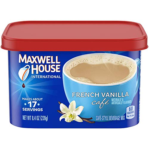 Maxwell House International French Vanilla Beverage Mix, 8.4 oz Tub, Pack of 4