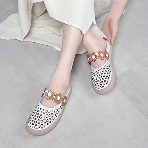 caseros DANDANJIE Huecos Transpirable Zapatos Punta Las de Estrecha Verano al Casual Plano Transpirable Moda Sandalias Aire Zapatos Blanco de Zapatillas del y Chanclas talón señoras Libre YqYSwr