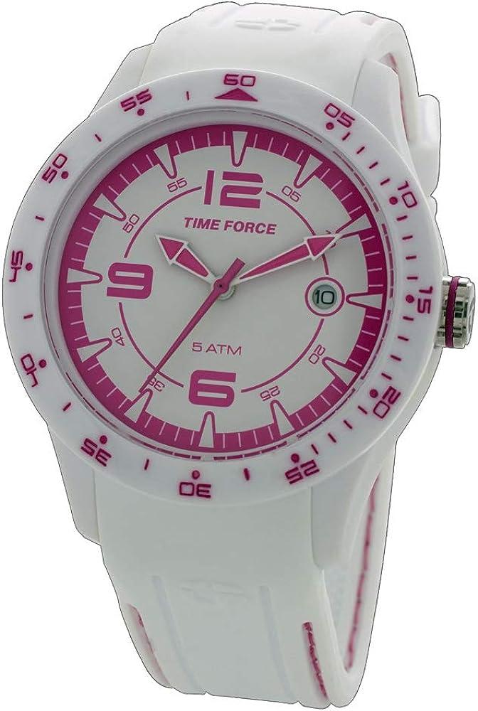 Time Force Reloj Analógico para Mujer de Cuarzo con Correa en Caucho TF4154L11