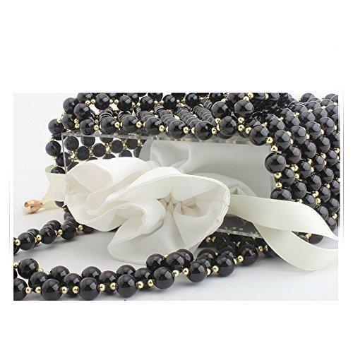 sac fait à mariage partie clubs soirée de Perle de main main de Black pochette sac dames perlé banquet sac pour les sac q7xtUnR8