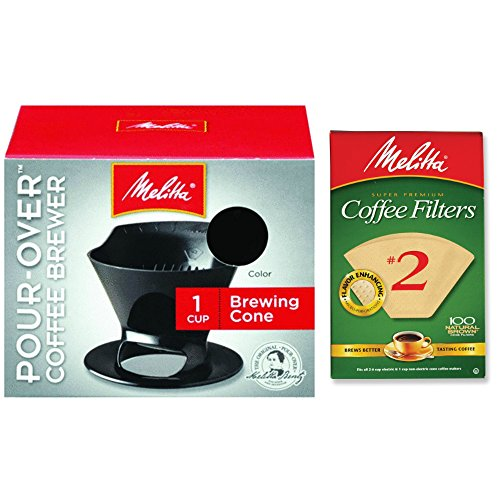 Melitta Pour Over Coffee Cone Brewer & #2 Filter Natural Brown Combo Set, Black