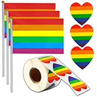 OOTSR 500 Love Rainbow Ribbon Stickers with 30 Gay Pride Flag LGBT Stick Flags, Heart Shaped Sticks & Hand Held Flags for Gifts/Crafts/Envelope Sealing/Gay Pride Parade