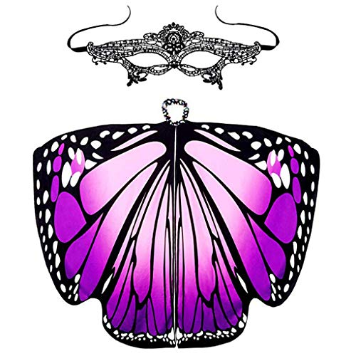 POQOQ Costume Women's Giant Marabou Angel Wings, 32-Inch, White Monarch Butterfly Wings Dress Up Halloween Costume 168x 135CM Purple -