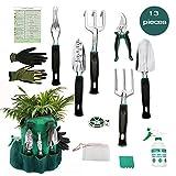 AYUBOOM Garden Hand Tools,Garden Tool Set,Gardening gifts,13 Piece Gardening Kit, Garden Gifts for Men & Women,Durable Storage Bag, Garden Gloves,Seeds Bag,Plant Labels,Garden Tie