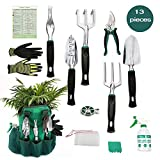 Ayuboom Garden Tool Set,Gardening Gifts,13 Piece Gardening Kit, Garden Gifts for Men & Women,Durable Storage Bag, Garden Gloves,Seeds Bag,Plant Labels,Garden Tie