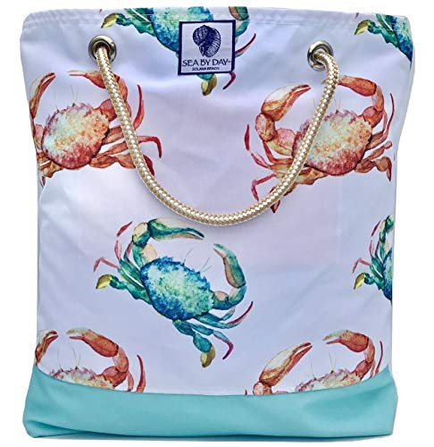 Bucket Beach Bag, Pool Bag or Travel Tote- California Style Water Resistant (Crab Crossing) ()