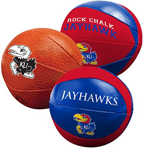 NCAA Kansas Jayhawks Three Ball Softee Basketball Set, 4