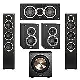 Elac 5.1 System with 2 Debut F5 Floorstanding Speakers, 1 Debut C5 Center Speaker, 2 Debut B4 Bookshelf Speakers, 1 BIC/Acoustech Platinum Series PL-200 Subwoofer