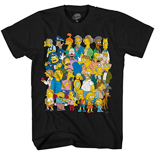 Simpsons The Springfield Group Bart Homer Tee Graphic Adult T-Shirt(Black,XXXL) (Lisa Simpson Clothes)
