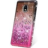 PHEZEN Case for Samsung Galaxy J7 2018 Case,Galaxy J7 Refine Case,Galaxy J7 Star Case,J7 Crown Case,J7 Aura, Bling Glitter Flowing Liquid Floating Sparkle Soft TPU Clear Case - Black/Pink