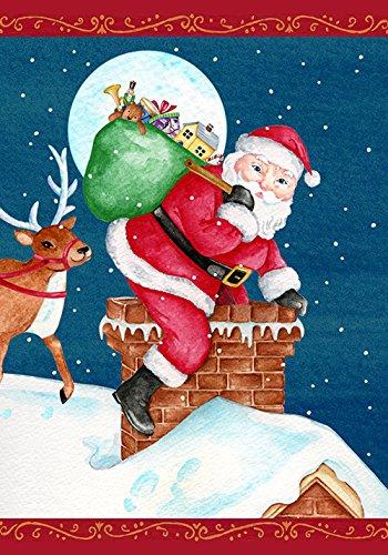 Toland Home Garden Santa Sweep 28 x 40 Inch Decorative Christmas Holiday Gift Chimney House Flag ()