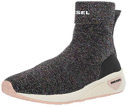 Diesel Women's SKB S-KBY Sock W-Sneaker mid, Black/Multicolor, 7 M US