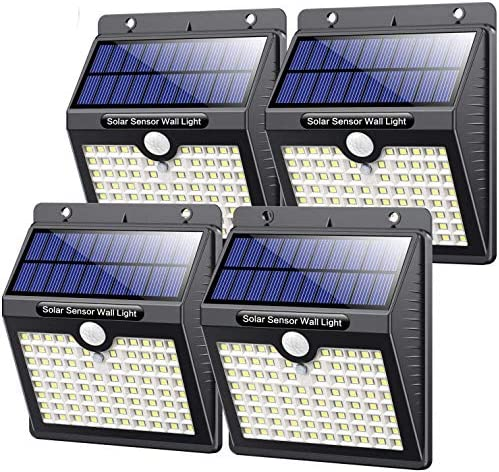 【4 Pack】Solar Lights Outdoor 80 LED kilponen Solar Motion Sensor Security Lights 2000mAh Solar Powered Lights Wall Lights Waterproof with 3 Modes for Outside [Energy Efficiency Class A]