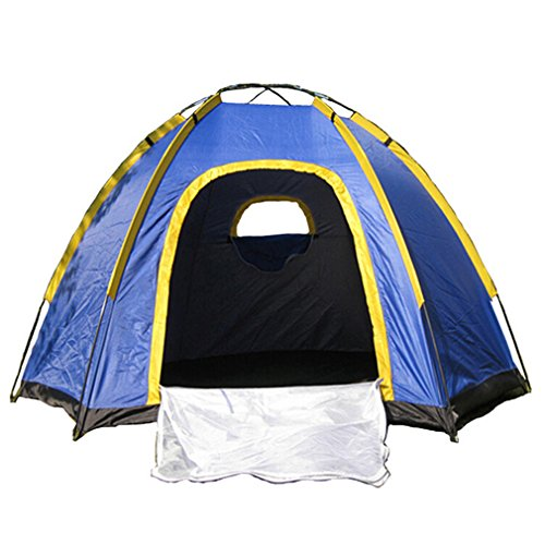 "OUTAD 3 Person Waterproof Tent Hexagonal Large Camping Hiking Tent With Carry Bag Blue(94*82*51"")"