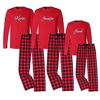 Set of 3 Personalized Family Christmas Pajamas - Black and ...