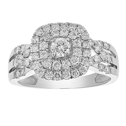 1 CT Diamond Halo Cushion Wedding Engagement Ring 14K White Gold in Size 8