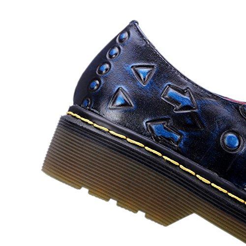 Tallone Piatto Minivog Tacco A Spillo Tacco A Spillo Donna Oxford Scarpe Nero Blu