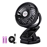 ADDSMILE Battery Operated Clip On Fan Rechargeable Desk Fan for Baby Stroller Car Gym Home Office Outdoor Traveling and Camping Black