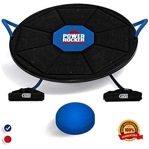 Epitomie Fitness Power Rocker Balance Board Premium Wobble Board Adjustable Height Bonus Resistance Tube Set Complete Stability & Core Training Physical Therapy and Injury Rehabilitation
