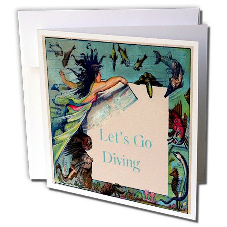 - Print of Vintage Mermaid With Lets Go Diving Sign - Greeting Cards, 6 x 6 inches, set of 12 (gc_212643_2)
