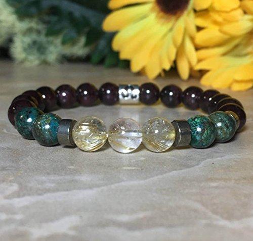 Womens Leo Zodiac Gemstone Bracelet, Chrysocolla Bracelet, Garnet Bracelet,Rutilated Quartz, Pyrite Bracelet, Zodiac Jewelry,Gift For Her