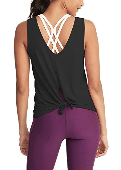 062108de04f Mippo Women's Sexy Open Back Yoga Tank Tops Cute Workout Tops Tie Back  Active Sports Shirts