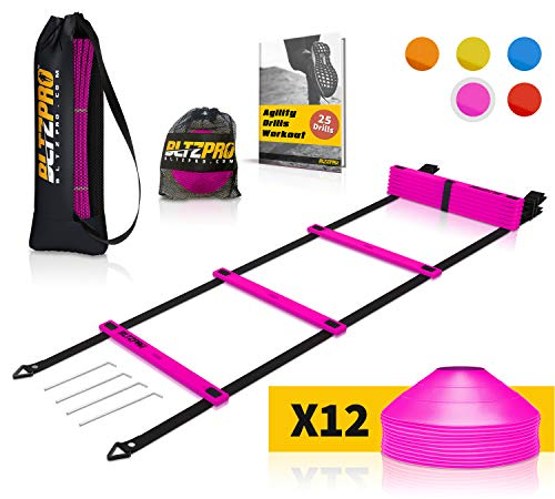 Bltzpro Football and Soccer Training Equipment - Cones & Agility Ladder Speed Practice kit for Kids and Coaches - Conditioning and Footwork Workout Gear - Includes 2 Bags & 24 Agility Drills eBook (Speed And Agility Training For Soccer Players)