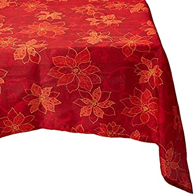 Benson Mills PoinSetta Scroll Printed Tablecloth, 100-Percent Polyester