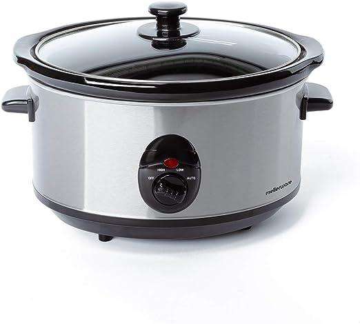 Mellerware - Tempo Olla de cocción Lenta, minimo Consumo 240W, cocción a Baja Temperatura, 4 Funciones, 3.5L, Olla de cerámica extraíble, Incluye recetario: Amazon.es: Hogar