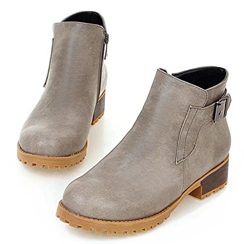 KingRover Women's Zipper Wide Calf Faux Leather Party Work Ankle Boots Gray n30y9h9O5M