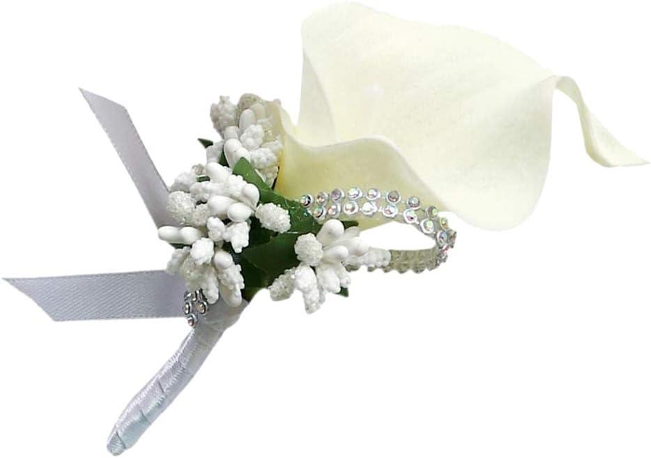 Calla Berry Corsage Flowers Groom Men Boutonniere Bride Wedding Corsages Boutonnieres Cream
