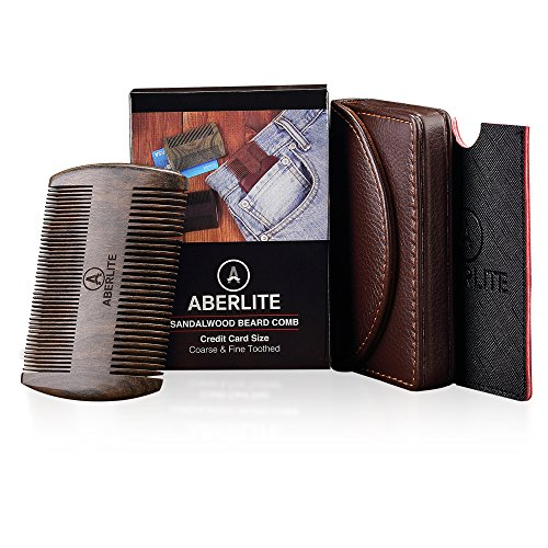 Beard Comb Kit (4-Pc) - Black Sandalwood Gift Set - Credit Card Size - Coarse & Fine Toothed Thin Sandalwood - Two EDC Beard Comb Leather Cases - Your EveryDay Carry Pocket Comb! (Black/Green/Red)