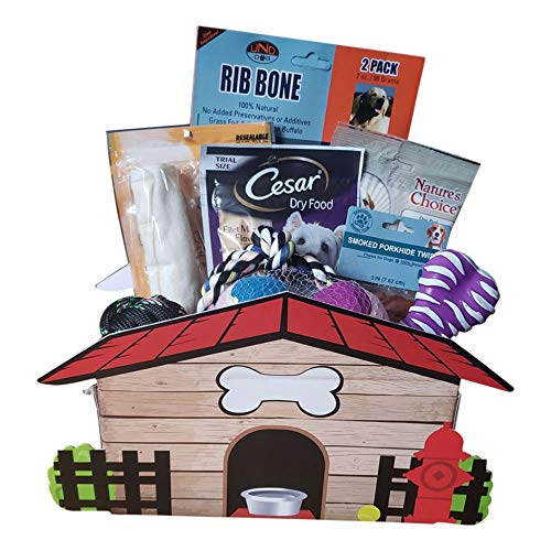 Dog Gift Basket - 10pc Dog Toys & Treats - Small & Large Dogs