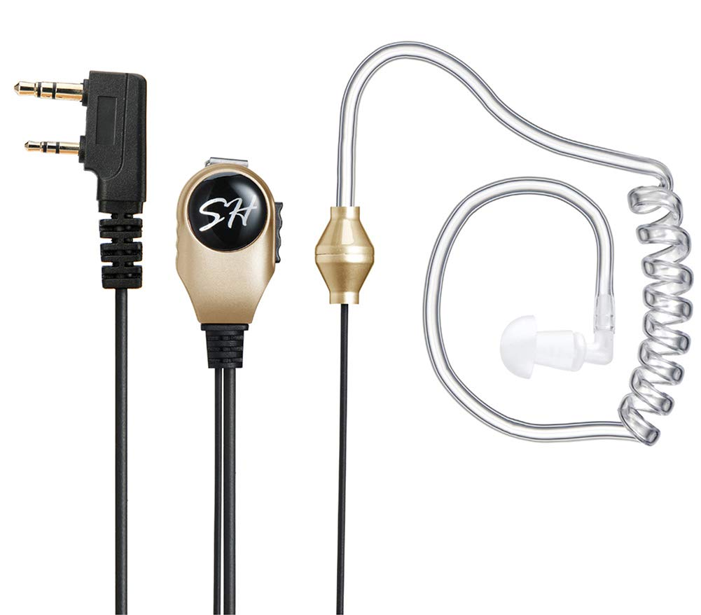 PTT MIC Covert Acoustic Tube In-ear Earpiece Headset for Radio ICOM Midland New!