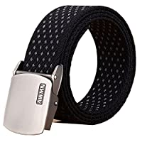 Fairwin Men's Military Tactical Web Belt, Nylon Canvas Webbing YKK Plastic Buckle Belt