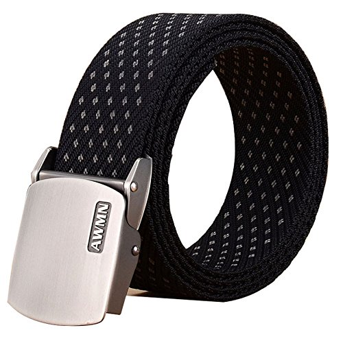 Fairwin Mens Nylon Tactical Web Belt, Military Style Canvas Webbing Belt (Black)