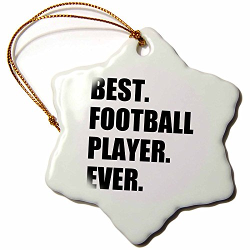 3dRose orn_185001_1 Best Football Player Ever Fun Gift for Soccer Or American Football Snowflake Ornament, Porcelain, 3-Inch by 3dRose