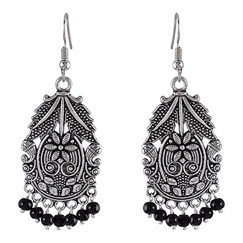 y Indian Oxidized Silver Vintage Retro Ethnic Dangle Tribal Tibetan Gypsy Dangle Earrings for Girls Women ()