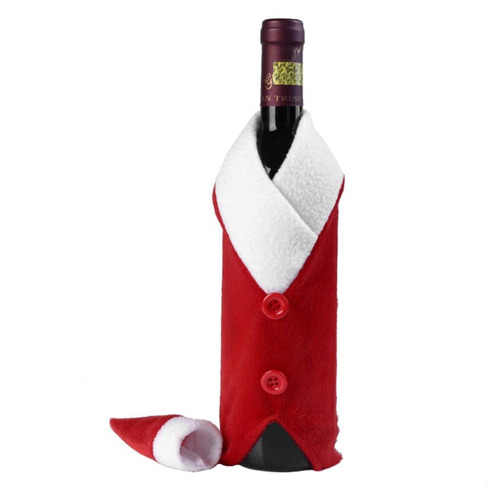 Cosanter Cena de Navidad Bolsa de cubierta de botella de vino La ropa de la Navidad fijó el bolso del abrigo de Champán para la decoración del vector del restaurante de la celebración de días festivos