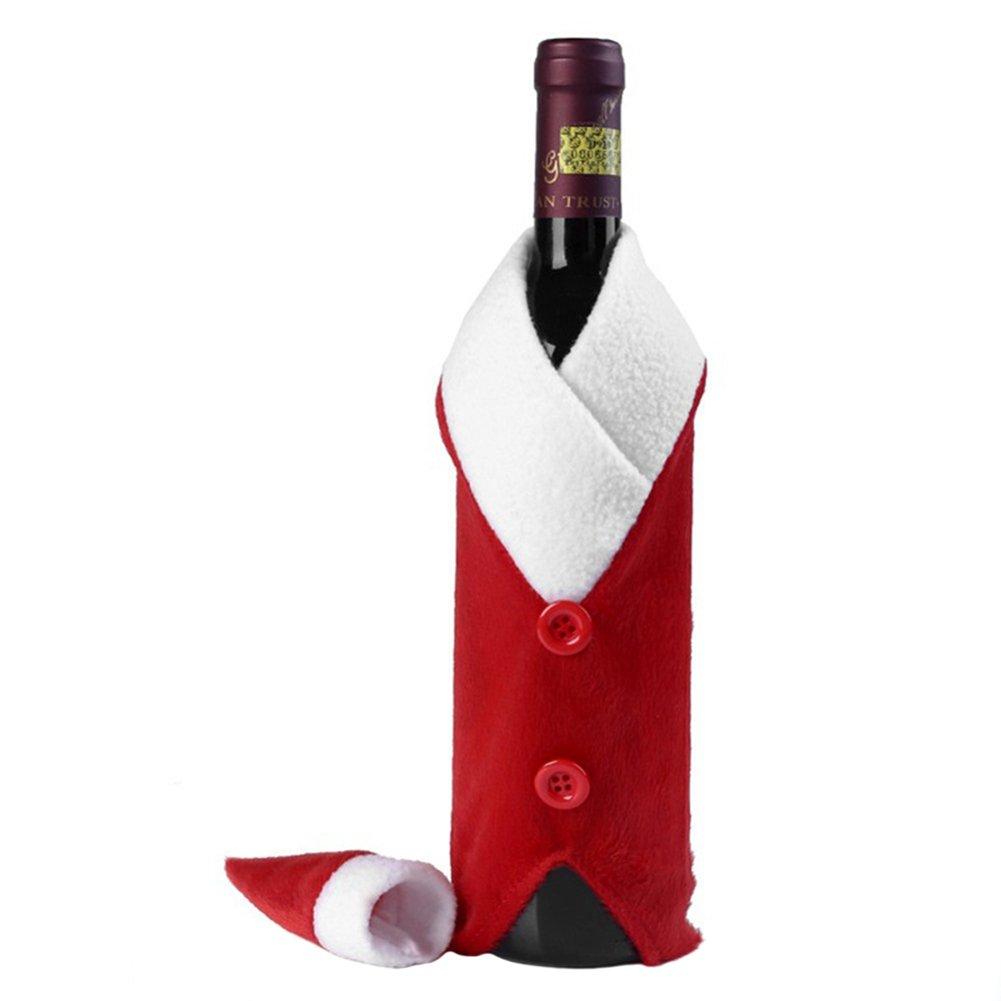 MoGist Christmas Wine Bottle Bag Gift Wrap Novelty Decoration Santa Suit with Hat Gift Bag Christmas Table Dinner Decoration Home Party Decors
