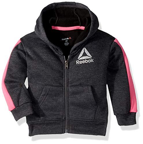 Reebok Girls' Toddler Spun Poly Fleece Luxe Jacket, Dark Heather Grey 3T (Reebok Fleece)