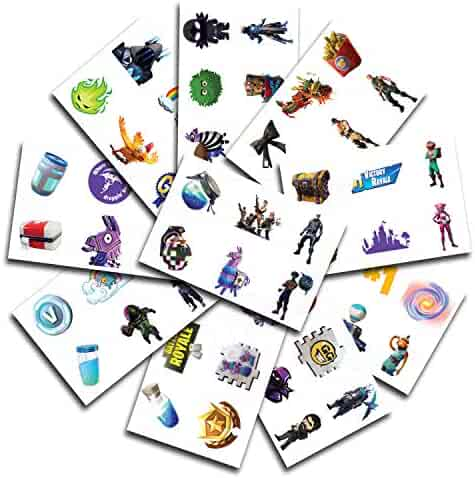 10 Sheets 60 Temporary Tattoos of Battle Royale Characters | Birthday Party Supplies Favors | Easy to Use | Safe | Durable | Tattoos for Children | Multiple Designs | Non-toxic (Creative Pack)